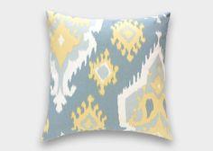 Large Ikat Pillow Cover. Pale Yellow, Saffron Grey. 14x14, 16x16, 18x18, 20x20 or Lumbar. Pillow Cover.