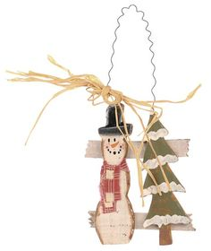 Rustic Wooden Snowman with Pine Tree Holiday Ornament  $1.49