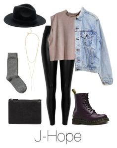 """""""J-Hope Inspired w/ Dr. Martens"""" by btsoutfits ❤ liked on Polyvore featuring Black, H&M, Levi's, Dr. Martens, Kate Spade and ASOS"""