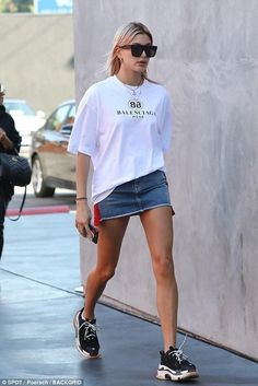 Hailey Baldwin wearing #balenciaga Triple S Sneakers and Balenciaga Mode Tee