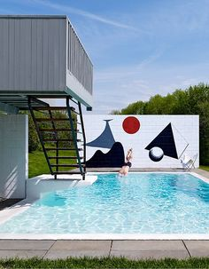 The Artful Connecticut Pool with an Alexander Calder Mural