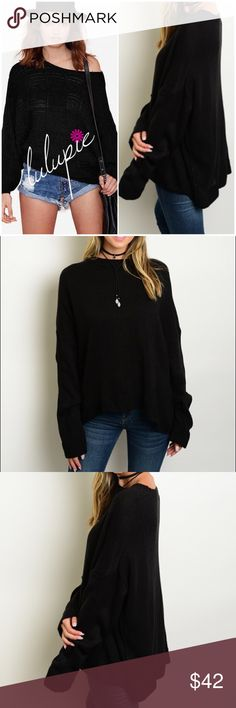 """🆕 Black Boyfriend Pullover Sweater Long sleeve knitted boyfriend fit pull over sweater. Made of 100% acrylic. One Size fits most. Fits up to XL  Measurements: bust 52""""/ length 24""""  Available in black/ wine and Kaki colors Bchic Sweaters"""