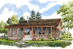 House Plan 1907-00017 - A sweet Cottage House Plan makes a perfect getaway or forever home. There are in excess of 1,030 square feet of living space with 2 bedrooms and 2 baths. The exterior is highlighted with a large wraparound screened porch perfect for relaxing and/or entertaining.