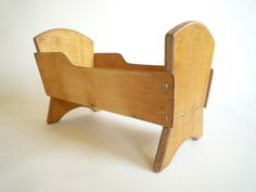 Wooden Doll Bed  Vintage Cradle Crib by CrolAndCo on Etsy