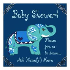 Henna Elephant (Baby Shower) Announcements