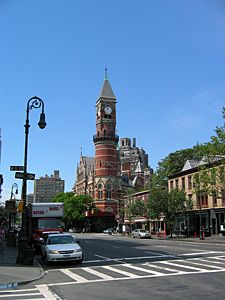 A view of the Jefferson Market Courthouse (1876), Greenwich Village, now a branch of the New York Public Library.