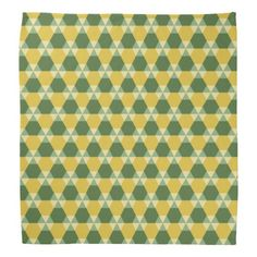 Tree Top Green and Gold Triangle-Hex #Bandana: Another one of our #hexagon-based designs, with Tree Top Green ( a new fashion color) and gold as the dominant colors.