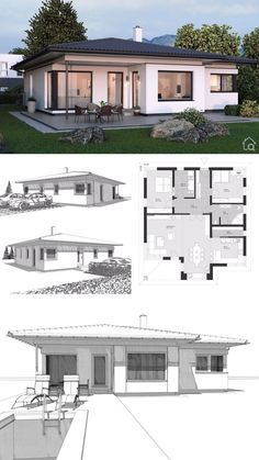 """Bungalow House Design Modern Contemporary European Style Floor Plans with One Story & 2 Bedroom """"ELK Bungalow - Dream Home Ideas with Hip Roof Layout by ELK Haus - Arquitectura moderna casas planos - HausbauDirekt. Bungalow Haus Design, Modern Bungalow House, Bungalow House Plans, New House Plans, House Layout Plans, House Layouts, Small Modern House Plans, Indian House Plans, House Design Pictures"""