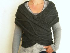 Echarpe cache-coeur au tricot