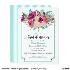 Feminine Floral Bouquet Bridal Shower Invitation - Host a bridal shower with a custom invitation featuring a vibrant floral bouquet in watercolor hues of pink, magenta, fuchsia and purple with green and aqua leaves to accent the bouquet. A deep charcoal gray and aqua border surrounds your text with stylish appeal. The reverse side of the invitation has a matching narrow striped pattern in aqua and white. Available at Oasis_Landing on Zazzle.