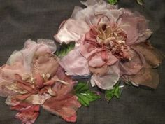 Peonies in progress made with recycled fabrics & vintage trims....