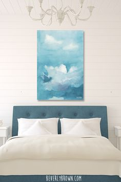 Calming light blue, peacock blue, lavender and white clouds canvas wall art by Beverly Brown. Custom printed on canvas in a large size over a bed in a cozy cottage style fresh white feminine master bedroom with peacock blue headboard . Light Green Bedrooms, Sage Green Bedroom, Dusty Pink Bedroom, Pastel Bedroom, Blue And Pink Living Room, Living Room Colors, White Wall Art, White Walls, Bedroom Artwork