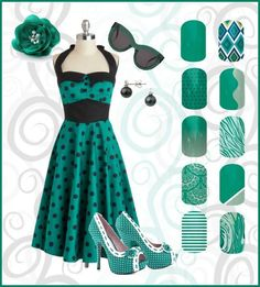Pin up style!!! Jamberry goes with every style!! www.markedmamanails.jamberrynails.net