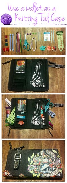 "Organize your small knitting and crochet tools with an old wallet. // Since the wallet says ""Cut and Sew,"" I'm actually thinking this thing was specifically made for a knitting tools pouch. Still a good idea, though. May have to do this...."