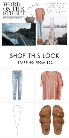 """""""W O R D  O N  T H E  S T R E E T"""" by annie-1696 ❤ liked on Polyvore featuring Dsquared2, Clu, Topshop and Billabong"""