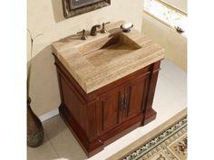Full Product Name: 33 Inch Single Sink Vanity Cabinet - Travertine, Vanity Top Sink Holes)Manufacturer's Model: brand: Silkroad ExclusiveSilkroad Exclusiv 30 Inch Bathroom Vanity, Cheap Bathroom Vanities, Stone Bathroom Sink, Stone Sink, Cheap Bathrooms, Single Sink Bathroom Vanity, Bathroom Vanity Cabinets, Vanity Sink, Bathroom Furniture