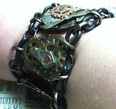 REAL Steampunk vintage watch parts bracelet embossed by MKPjewelry, $65.00