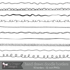 Digital Doodle Borders / Frames  BUY 2 GET 1  by FlyDragonDesign, $2.75
