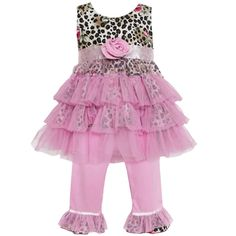 @Overstock - This pretty 2-piece girl's set from Ann Loren has a sleeveless printed top with a tulle tutu overlay. The matching capri pants have coordinating ruffles and an easy-on elastic waistband.http://www.overstock.com/Clothing-Shoes/AnnLoren-Girls-Leopard-and-Pink-Tulle-Top-and-Capri-Pants-Set/7747060/product.html?CID=214117 $26.99