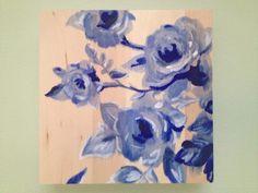 Blue floral oil painting on basswood canvas.   www.etsy.com/shop/jpsaintp  www.ARTbyJSP.com Oil, Canvas, Floral, Shop, Blue, Etsy, Painting, Tela, Flowers