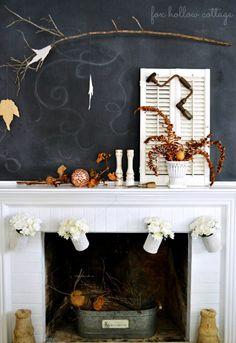 325bd2fb071d8 Fall Fireplace Mantel via  Robert Hollow Cottage Fall Fireplace Mantel