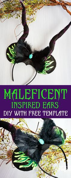 These Maleficent inspired Minnie Ears are perfect for chillin like a villain at your favorite Disney Park or a great idea for Mickey's Not So Scary Halloween Party. The free printable template makes it easy to put together. Vinyl Crafts, Diy Home Crafts, Easy Diy Crafts, Creative Crafts, Diy Craft Projects, Diy Crafts For Kids, Craft Ideas, Disney Diy, Disney Crafts