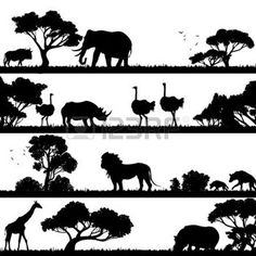 africa grassland: African landscape with trees and wild animals black silhouettes vector illustration