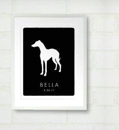 Personalized Dog Silhouette Print via #Etsy