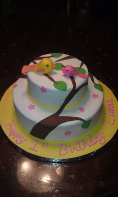 Little Birds 1st Birthday Cake