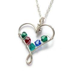 wire heart birthstone pendant 4 crystals - handmade jewellery (8)