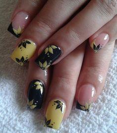 yellow and black nails