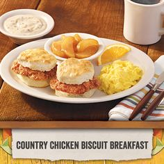 Our hand breaded chicken breast fillets are sandwiched between two handmade buttermilk biscuits so you can eat breakfast with your hands.