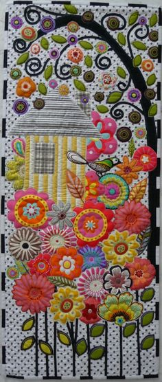 wall hangings, polka dots, applique quilts, applique houses, wall quilts