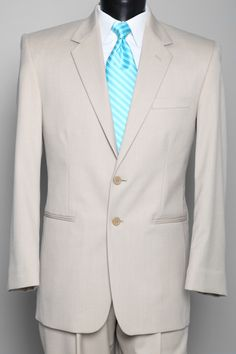 Tan suits with tiffany blue ties for the men. This is exactly what I want !!