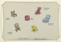 Official Marion Weeber Welsh Drawing, Button Design. 6 drawings on a single sheet of vellum:  Array of colored little chairs (ladder back, Windsor chair, slipper chair, etc.) .