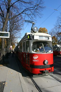 Tram in The Old Town, Vienna, Austria