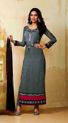 Esha Gupta Grey Bollywood Salwar Kameez YS71260