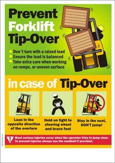 Poster: Prevent Forklift Tip- forklift training www.scissorlift.trainingOver