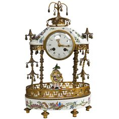 Antique 19th Century Porcelain Table Clock by J.E.Caldwell & Sons | From a unique collection of antique and modern clocks at http://www.1stdibs.com/furniture/more-furniture-collectibles/clocks/