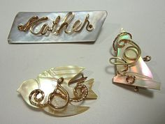 Antique Mother of Pearl Pins by COBAYLEY on Etsy