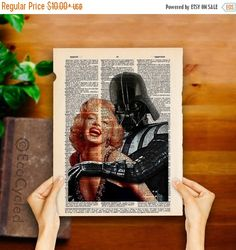 Marilyn Monroe in the Arms of Darth Vader on Vintage by EcoCycled