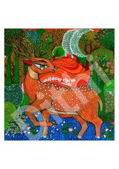 Golden Deer PRINT by Deezden on Etsy, $30.00