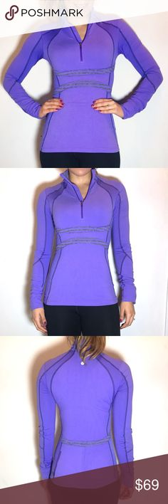 Lululemon Half-Zip Pullover Jacket Lululemon Half-Zip Pullover Jacket. -Size 4 -Fitted. -Color: Purple -Material: Luon/Mesh -Excellent condition.   NO Trades. Please make all offers through offer button. lululemon athletica Jackets & Coats