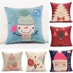 45X45cm Cotton Linen Christmas Gift Fashion Cotton Linen Pillow Case Sofa Cushion Decor