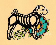 Day of the Dead Dog SHAR PEI Dia de los Muertos Art Print 5 x 7 or 8 x 10 - Choose your own words - Donation to Austin Pets Alive on Etsy, $10.00