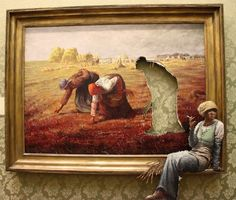 Here's Banksy's version of Jean-François Millet's The Gleaners one of the paintings in his exhibition Banksy v Bristol Museum. Classic French style, classic Banksy visual deception adapted to the interior of an art gallery. Art And Illustration, Banksy Quotes, Art Banksy, Bansky, Banksy Artwork, Banksy Paintings, Graffiti Quotes, Banksy Canvas, Oil Paintings