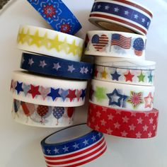 Patriotic washi tape sample  - Starbursts, gold stars, red blue stars, flags, star garland, banner in 18 inch washi samples by WashiYouDoing on Etsy
