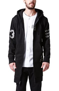 Been Trill comes with a two tone men's hoodie found at PacSun. The Long Zip Up Hoodie for men has bold Been Trill graphics on the front, back, and sleeve, as well as a soft fleece interior.	Black hoodie with Been Trill graphics on front, back, and sleeves	Matching hood and drawstrings	Zip front	Front hand pockets	Fleece lining	Long sleeves	Machine washable	80% cotton, 20% polyester	Imported