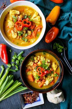 Coconut Curry Vegetable Soup - dairy-free, gluten free, paleo, whole30 | TheRoastedRoot.net #recipe #dinner #paleo #vegan #vegetarian