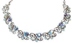 Vintage CORO Blue Aurora Borealis Rhinestone & Silvertone Filigree Necklace #Coro